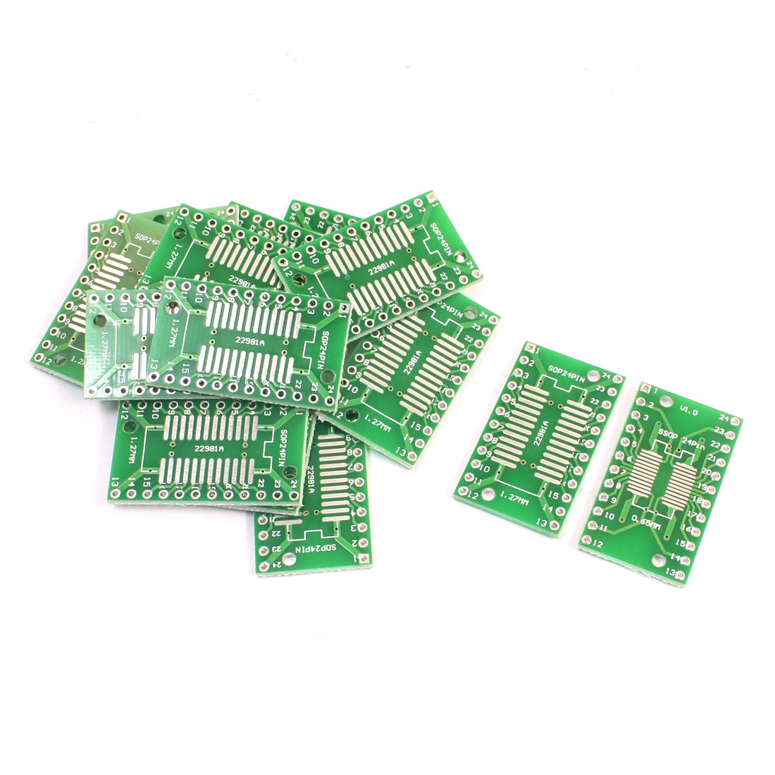 15Pcs SMD SOP24 SSOP24 0.65mm 1.27mm to DIP24 24Pin 2.54mm IC PCB Adapter Converter Plate Board