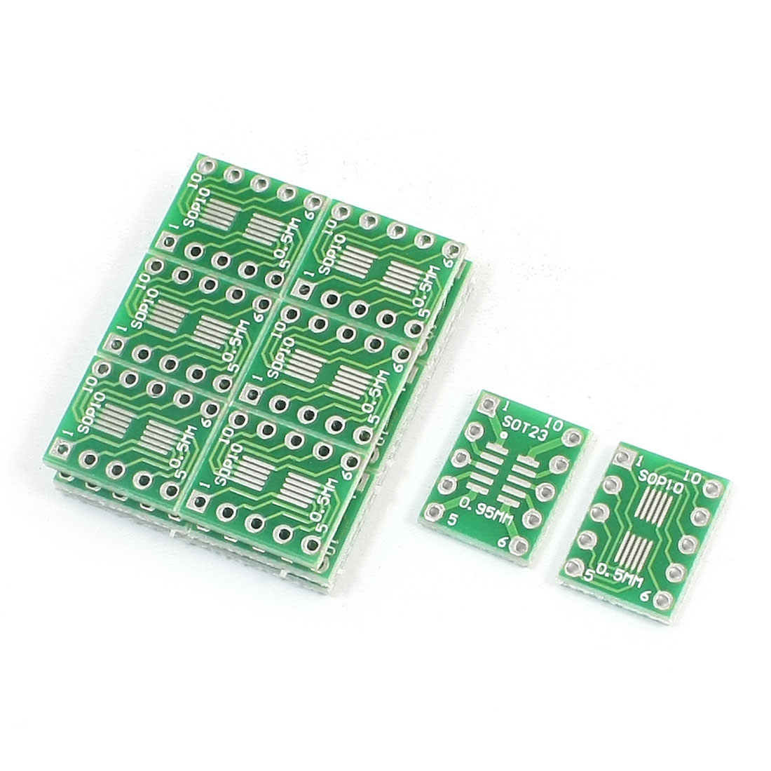 20Pcs SOT23 MSOP10 0.95mm 0.5mm to DIP 10-Pin 2.54mm Pitch Dual Sides PCB Adapter Plate Converter Board