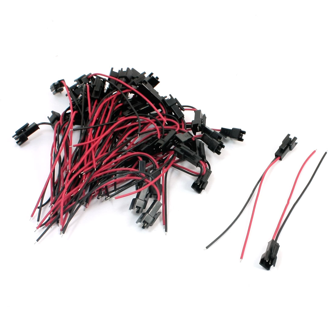 50Pcs JST 2.54mm SM 2Pin Single Head 24AWG 9cm Battery Connector Wire