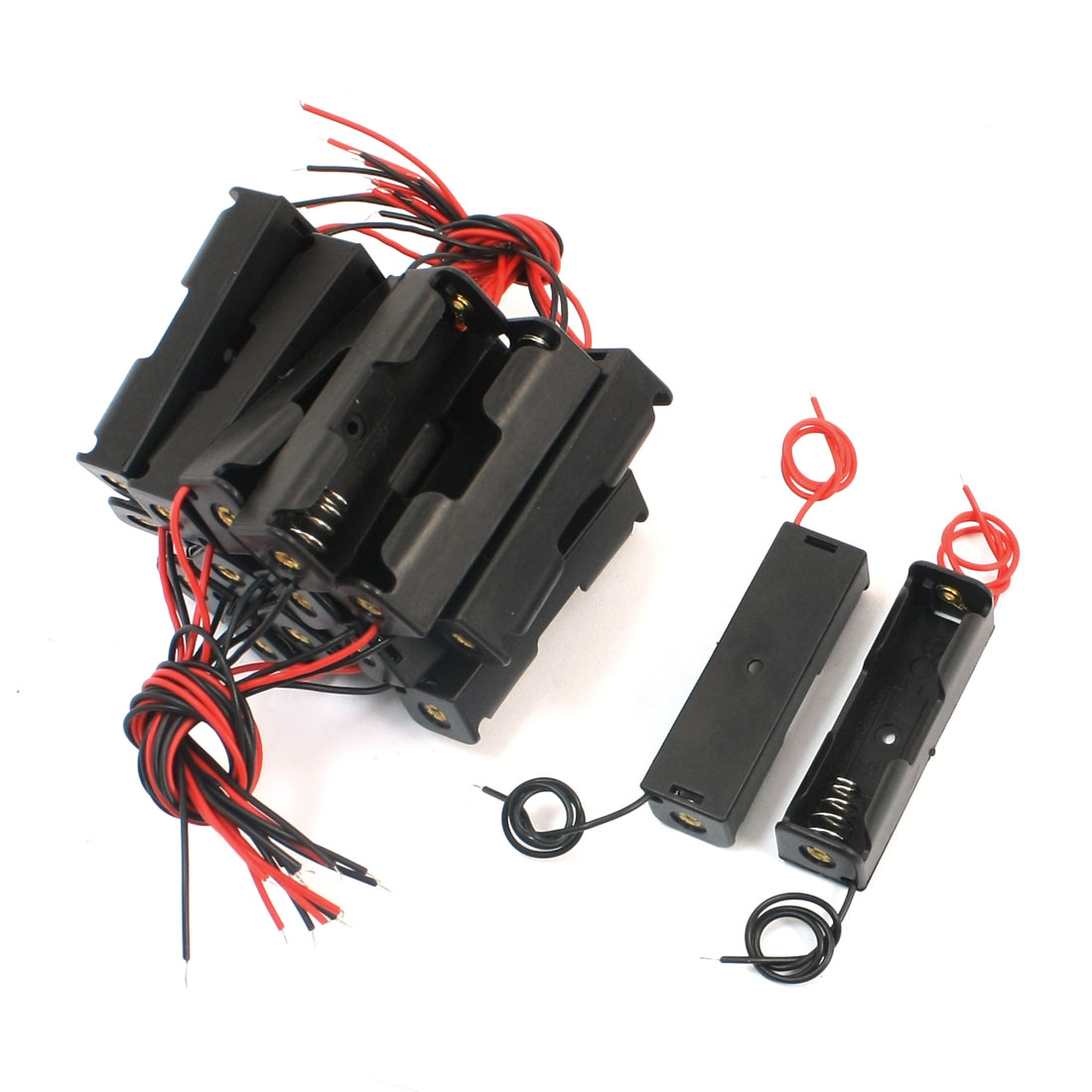 18pcs Wire Leads Black Battery Storage Case Slot Holder 1 x 1.5V AA