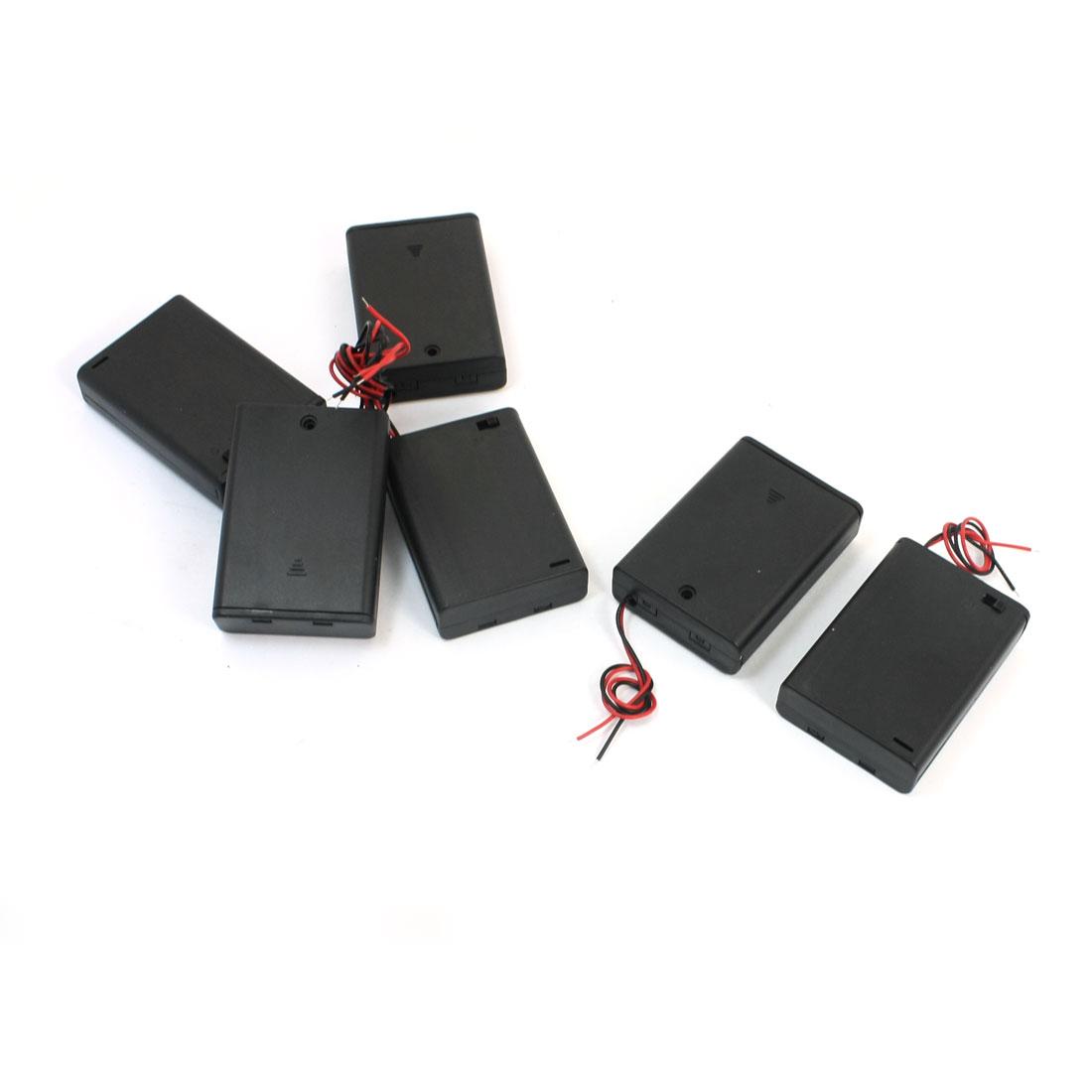 6pcs Electrical Battery Holder Box Case Lead 3 x 1.5V AA Black + Cap