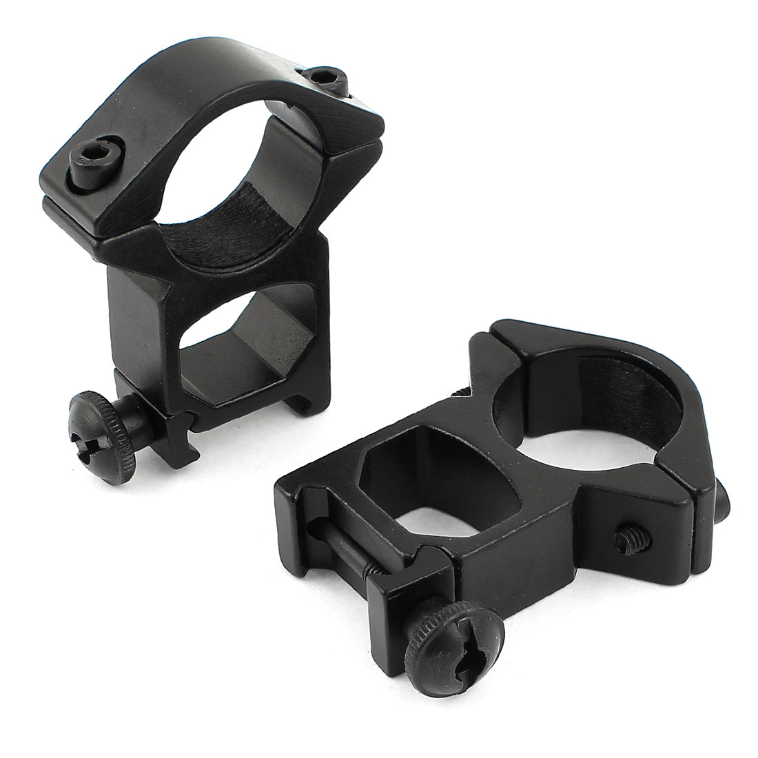 2 Pcs Alloy 25mm Ring Double Flashlight Mount Black w Hex Key