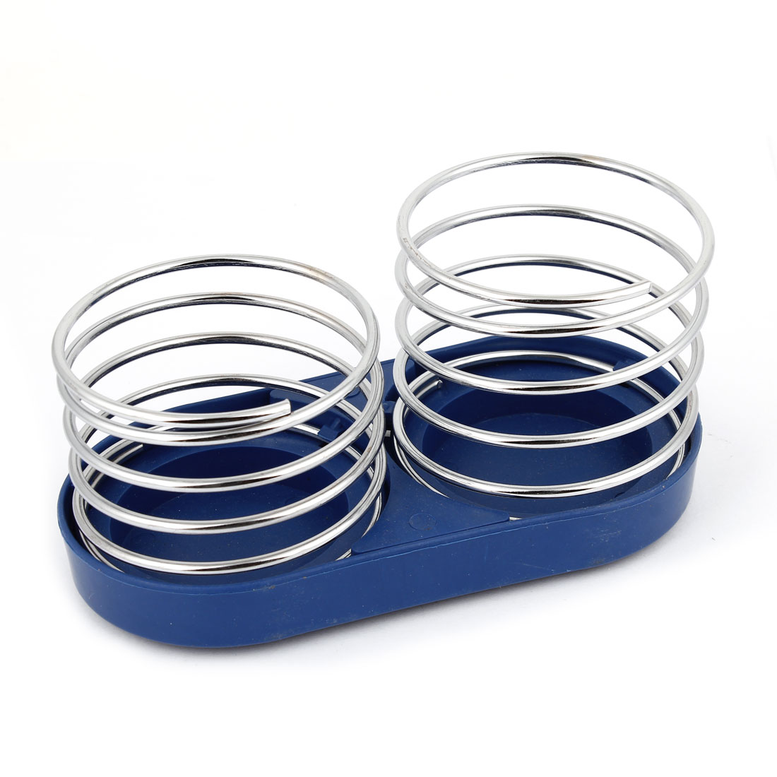 Blue Silver Tone Dual Spring Style Cup Can Drink Bottle Holder Stand for Car