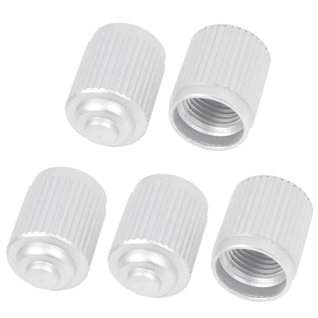 7mm Thread Dia Silver Tone Aluminium Alloy Mountain Bike Tire Valve Caps 5 Pcs