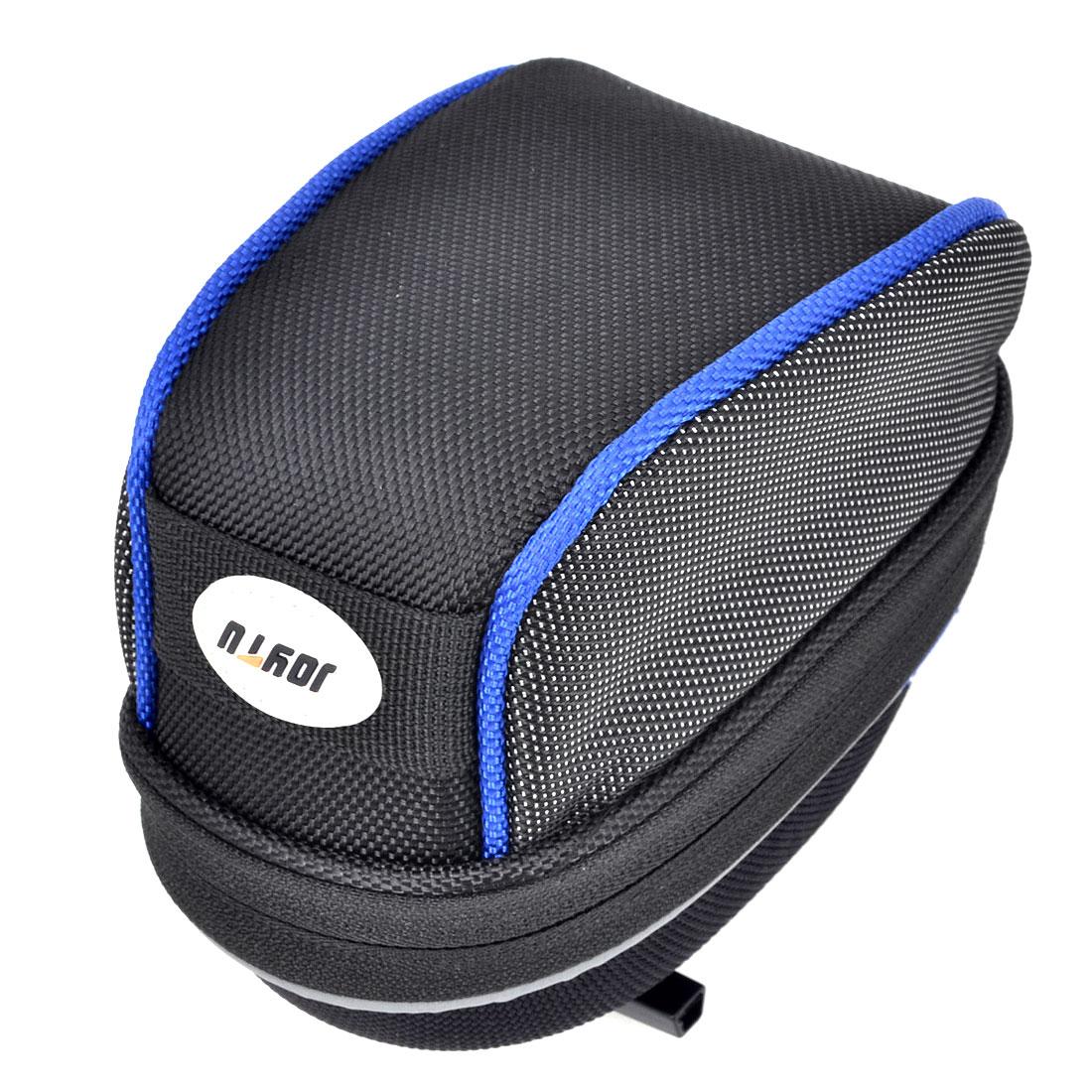 Mountain Bike Black Blue Nylon Saddle Pannier Seat Rear Zipper Bag Pouch