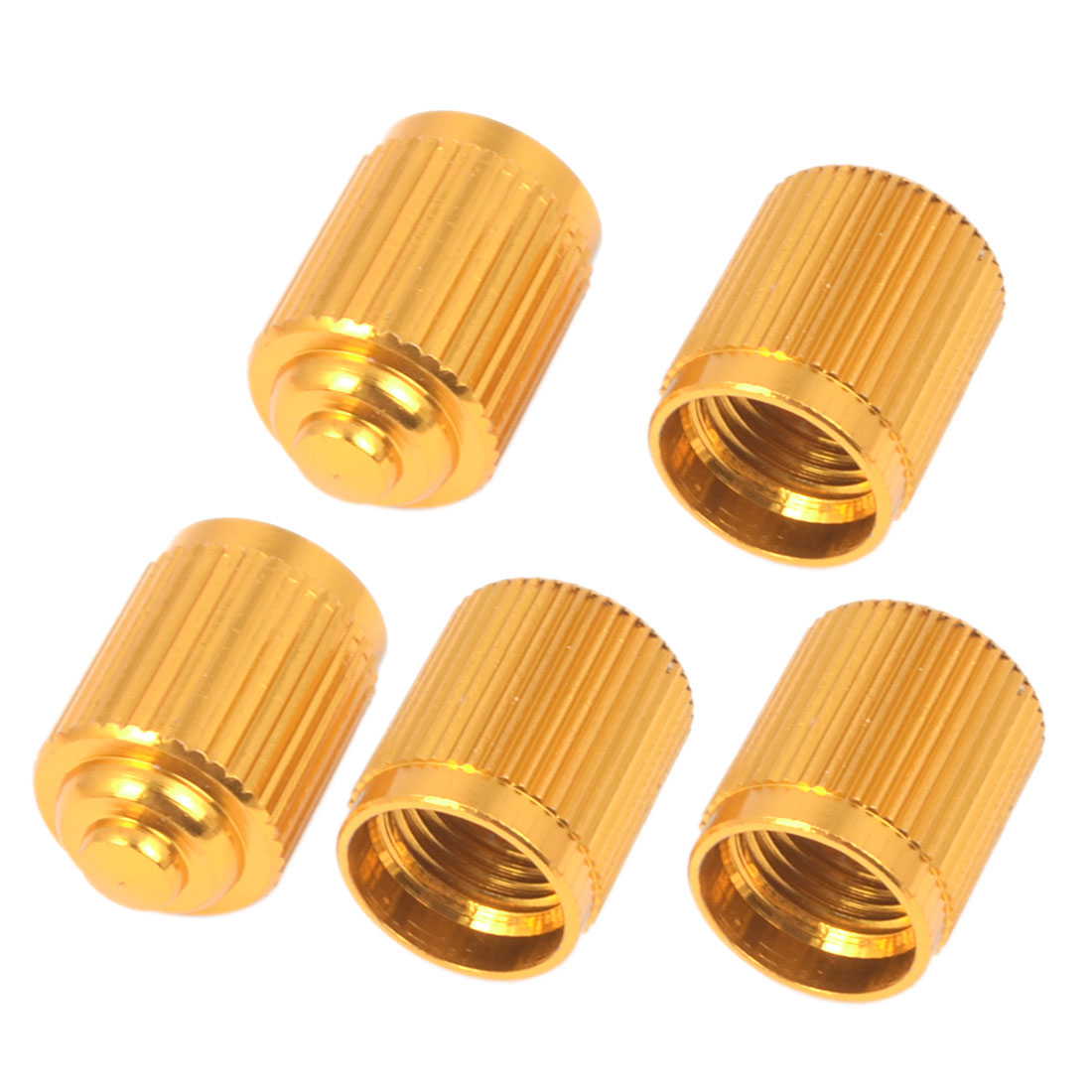 7mm Thread Dia Gold Tone Aluminium Alloy Mountain Bike American Type Schrader Tire Valve Caps 5 Pcs