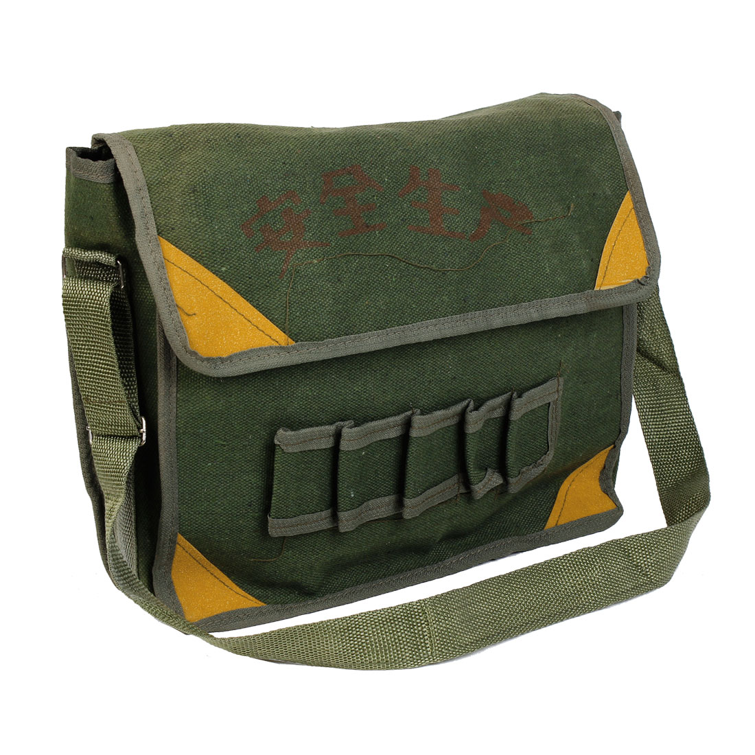Army Green Adjusting Strap Turn Lock Closure Electrician Tool Storage Bag