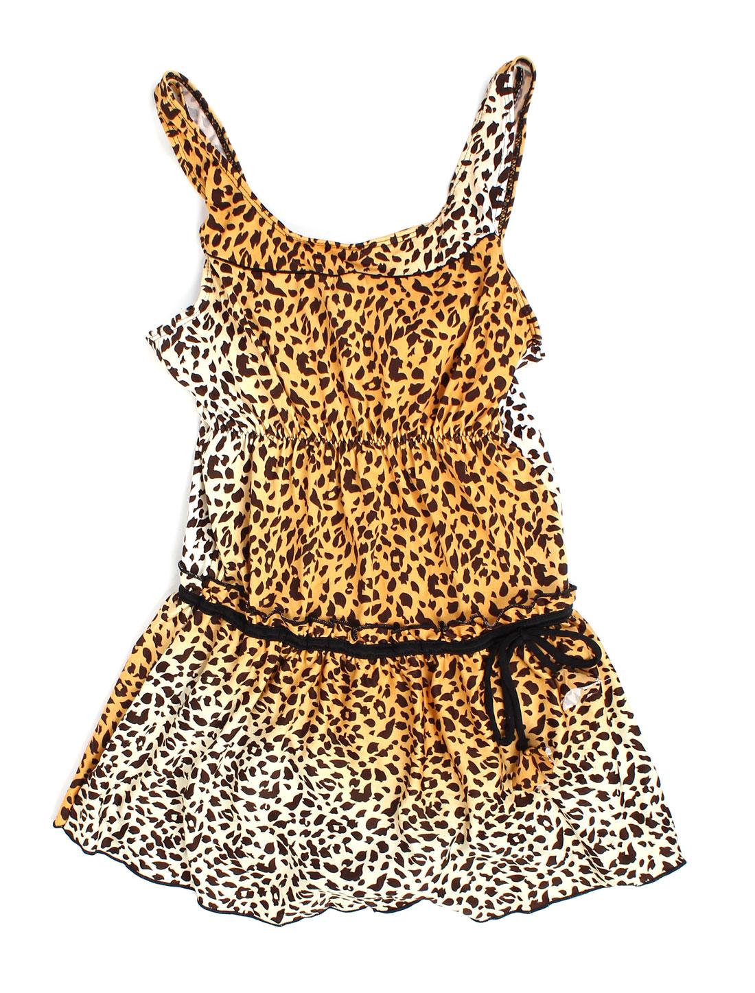 Ladies U Neck Stretchy Waist Leopard Pattern One-piece Swimdress Khaki White XS