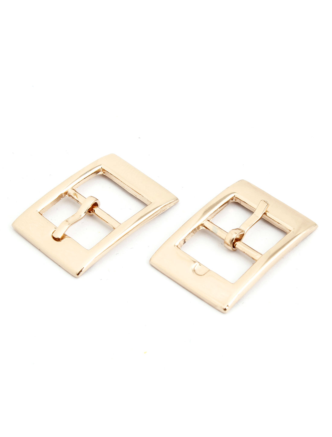 2 Pcs Gold Tone Metal Retangle Leather Shoes Ornament Needle Buckles