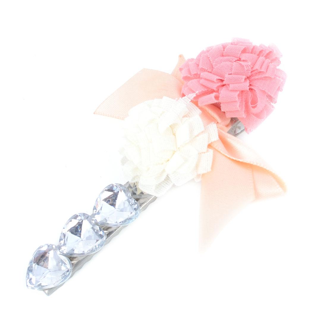 Women Faux Rhinestones Ribbon Bowknot Decor Alligator Hair Clip Pink Beige