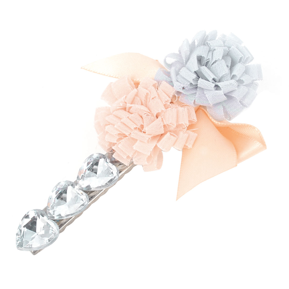 Women Faux Rhinestones Ribbon Bowknot Decor Alligator Hair Clip Pink Gray