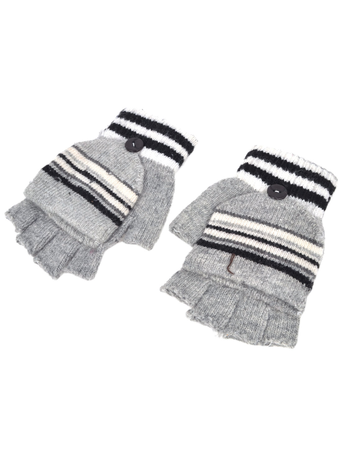 Unisex Striped Flap Cover Knitting Warm Half Fingers Gloves Gray Pair