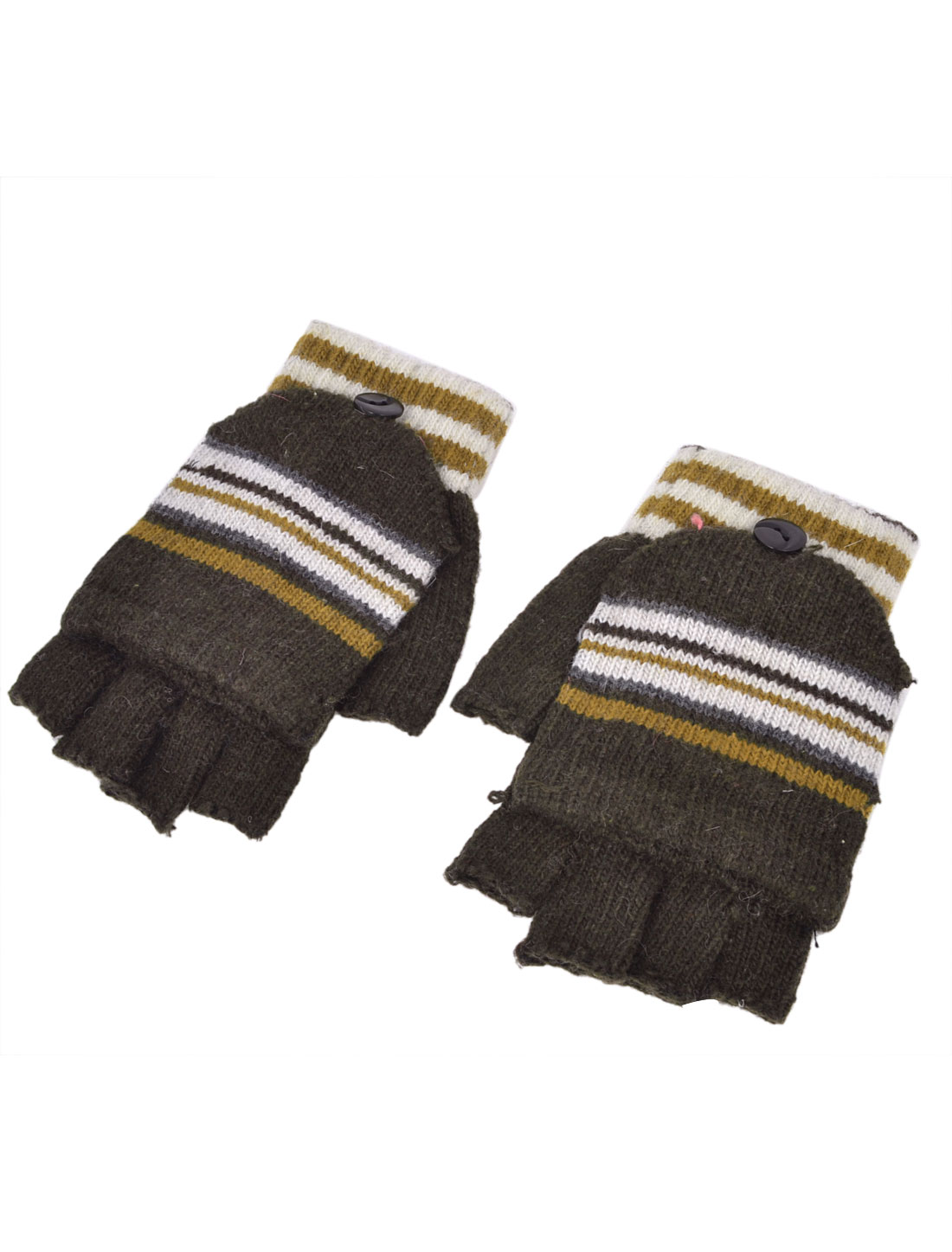 Unisex Striped Flap Cover Knitting Warm Half Fingers Gloves Brown Pair