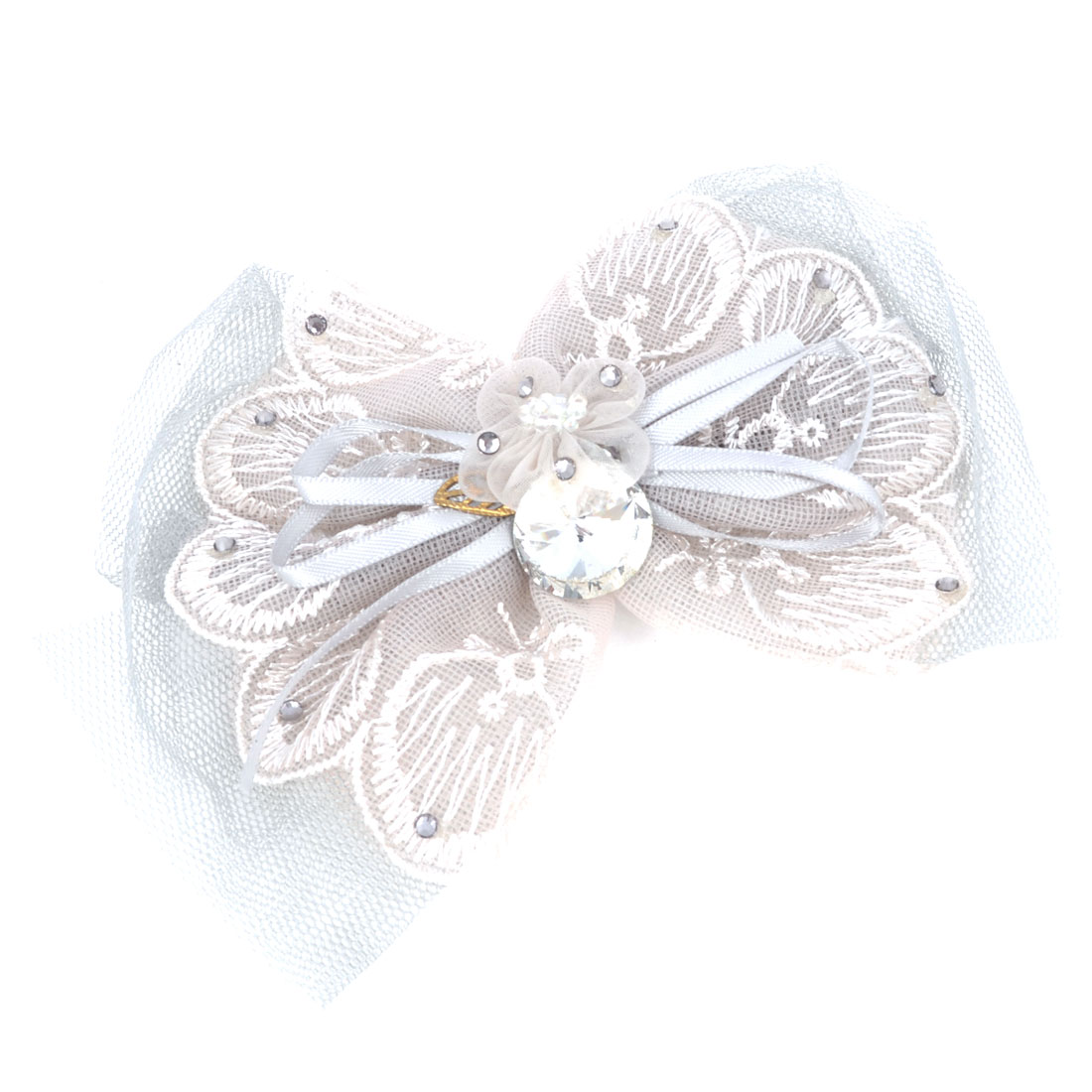 Women Faux Crystal Ribbon Lace Bowknot Decor Alligator Hair Clip Gray