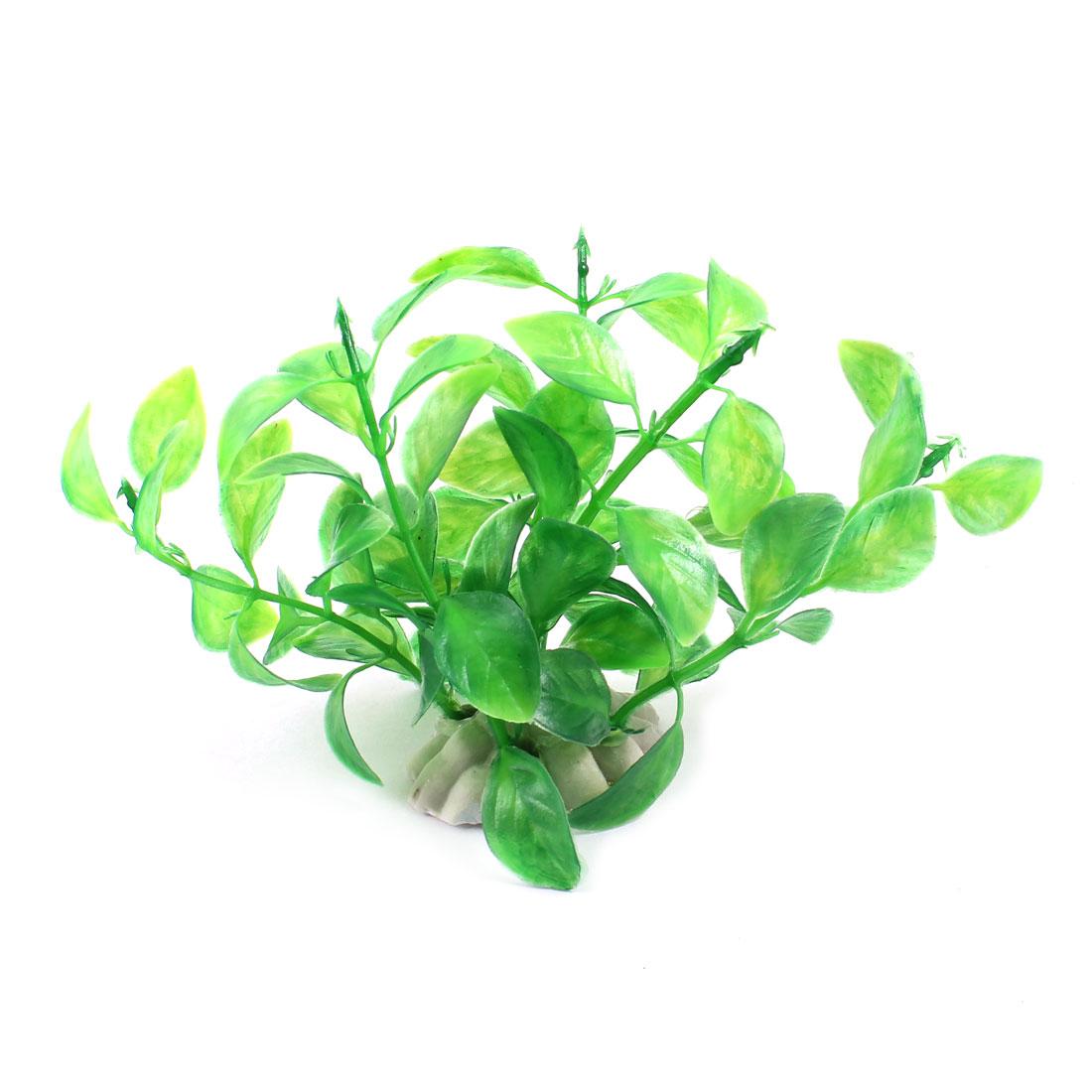 """Aquarium Ornament Simulation Green Plastic Grass Plant 3.9"""" Height 2 Pcs"""
