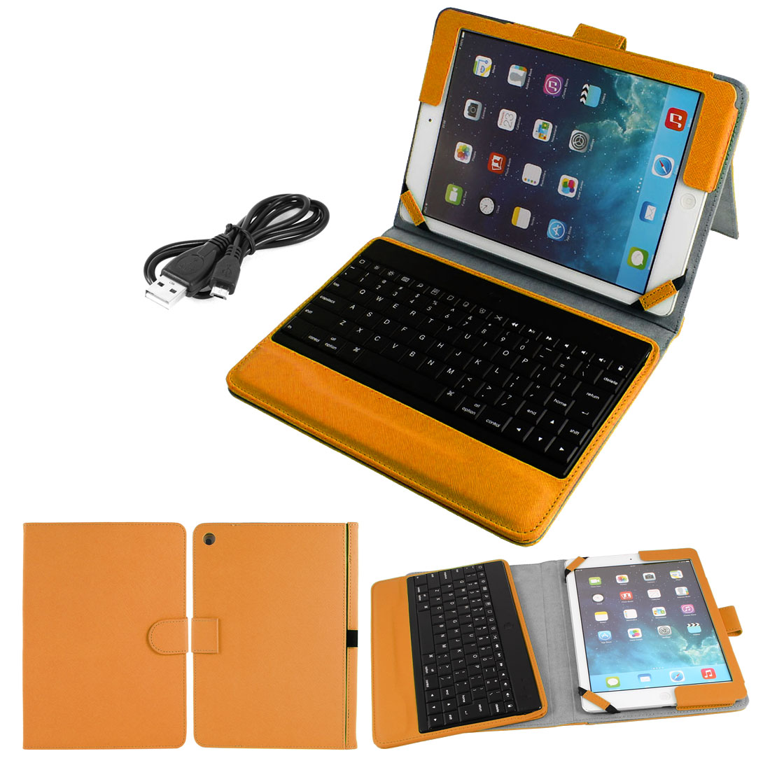 Wireless bluetooth Keyboard Foldable PU Leather Stand Case Orange for iPad 2 3 4