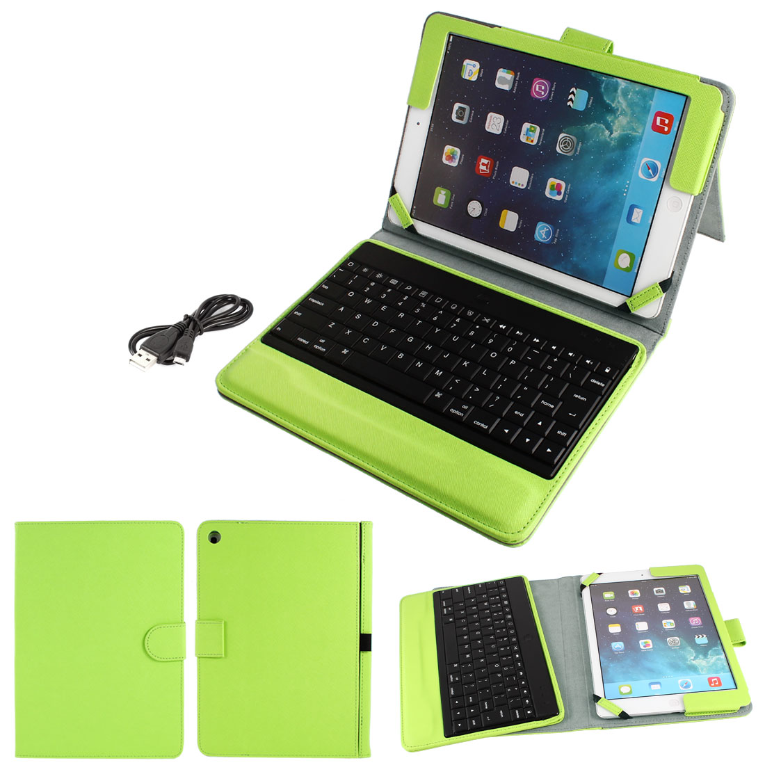 Wireless bluetooth Keyboard PU Leather Stand Case Protector Green for iPad 2 3 4