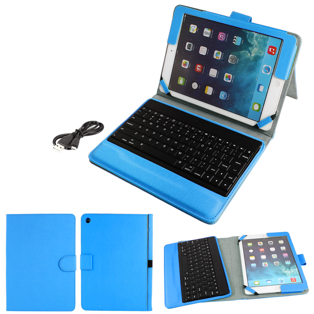 bluetooth Keyboard Foldable PU Leather Stand Case Sky Blue for Apple iPad 2 3 4