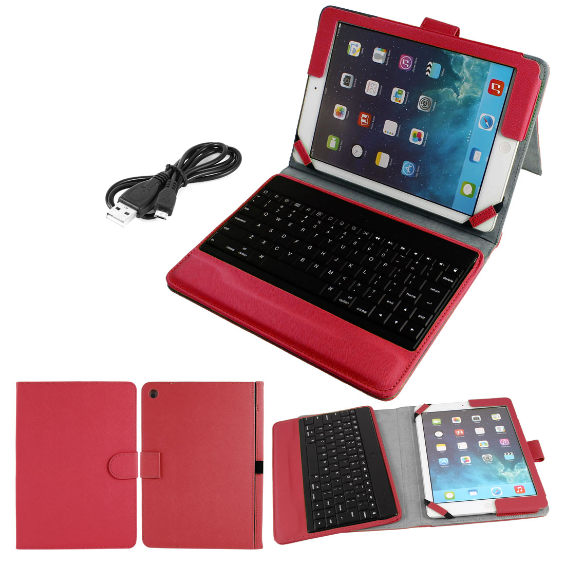 bluetooth Keyboard Foldable PU Leather Case Stand Protector Red for iPad 2 3 4