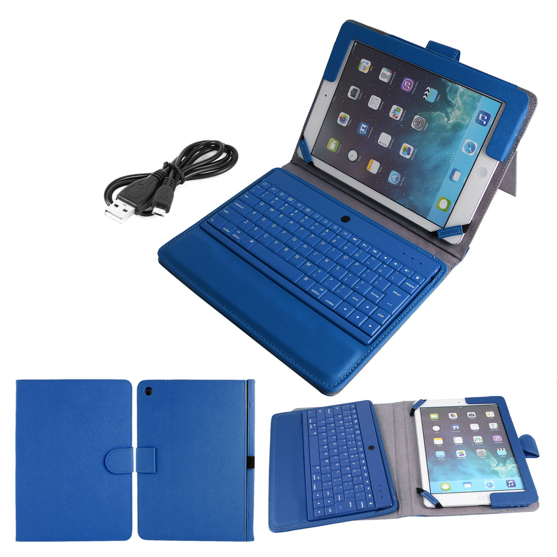 Wireless bluetooth Keyboard PU Leather Stand Case Protector Blue for iPad Air 5
