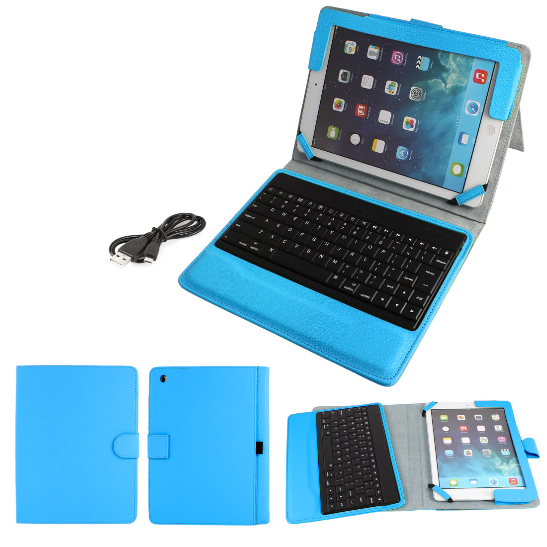 bluetooth Keyboard Foldable PU Leather Stand Case Sky Blue for Apple iPad Air 5