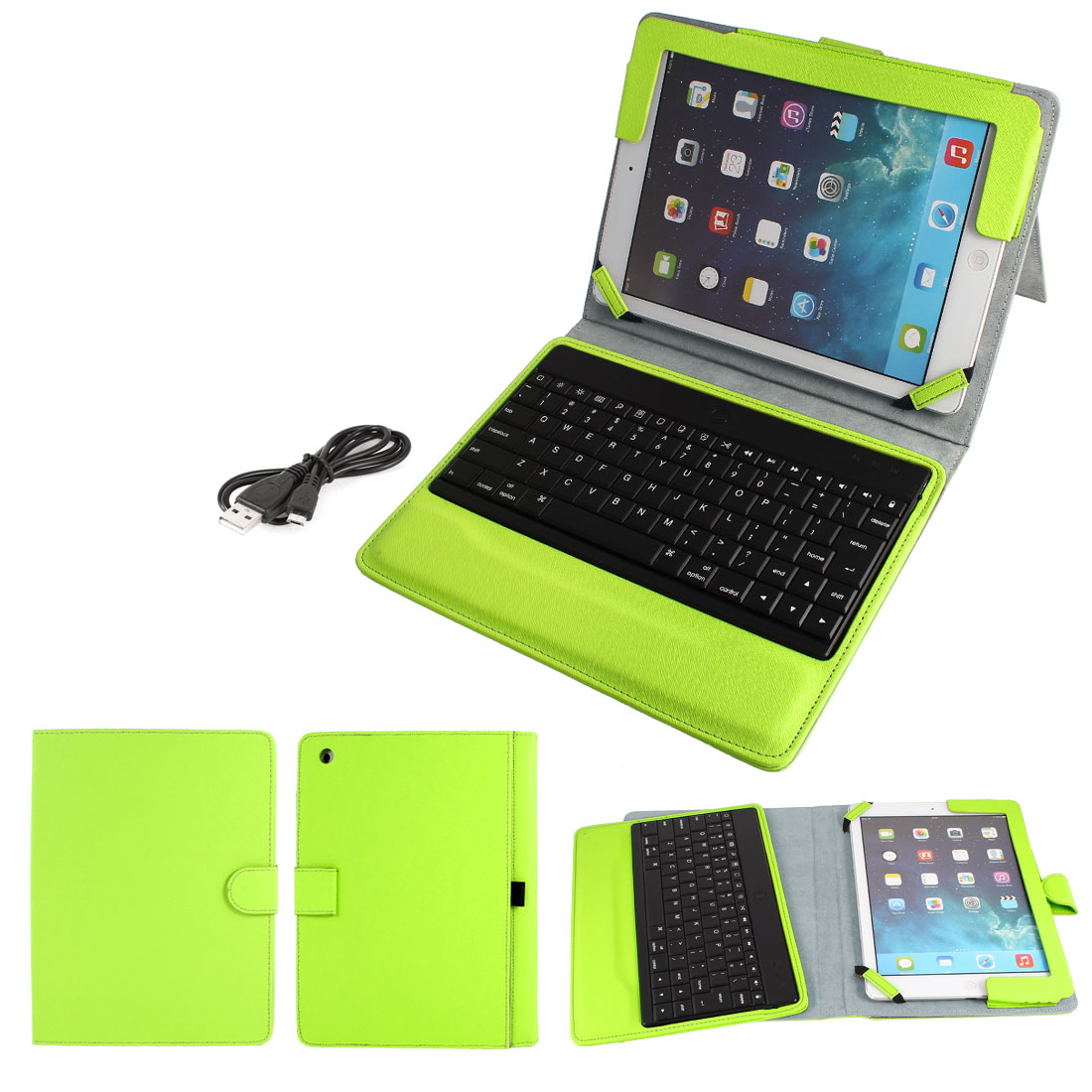 Wireless bluetooth Keyboard PU Leather Stand Case Protector Green for iPad Air 5