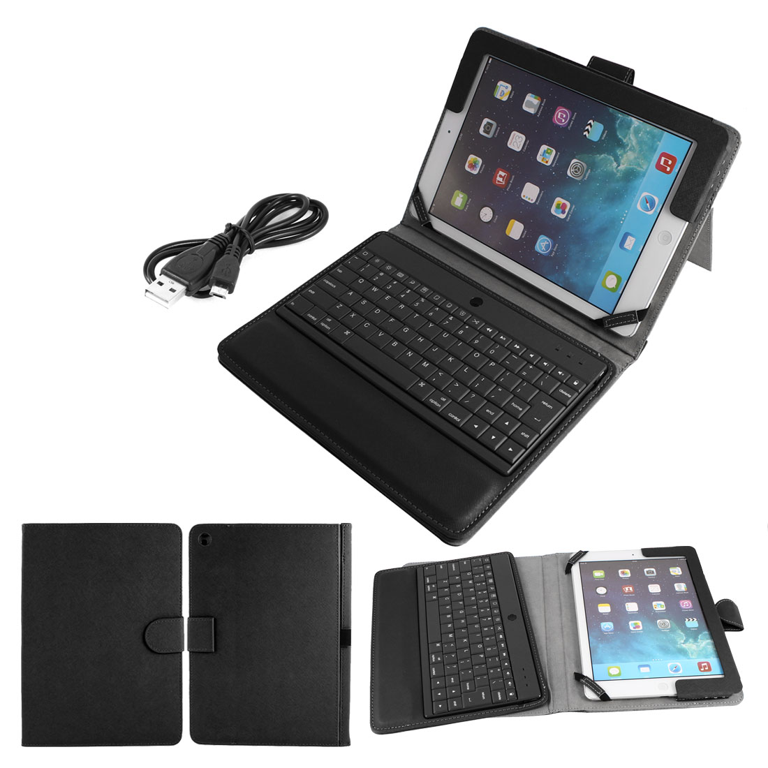 Wireless bluetooth Keyboard PU Leather Stand Case Protector Black for iPad Air 5