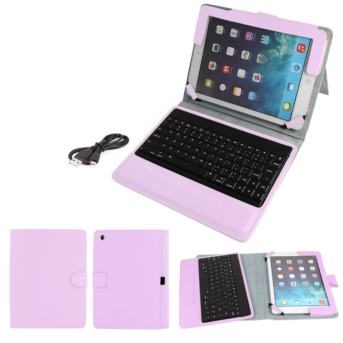 Wireless bluetooth Keyboard PU Leather Stand Case Protector Pink for iPad Air 5