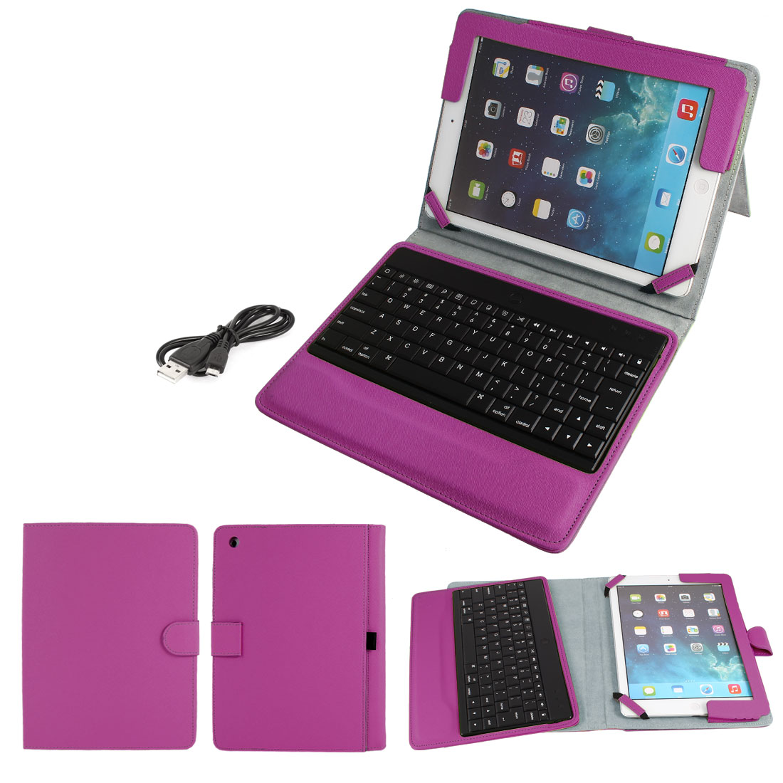Wireless bluetooth Keyboard Folding PU Leather Stand Case Fuchsia for iPad Air 5