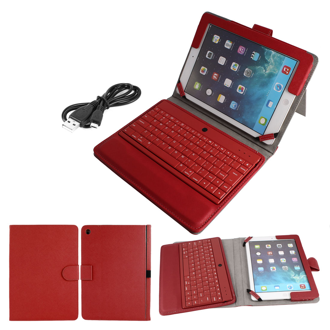 bluetooth Keyboard Foldable PU Leather Case Stand Protector Red for iPad Air 5