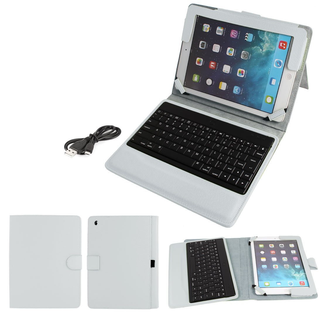 Wireless bluetooth Keyboard PU Leather Stand Case Protector White for iPad Air 5