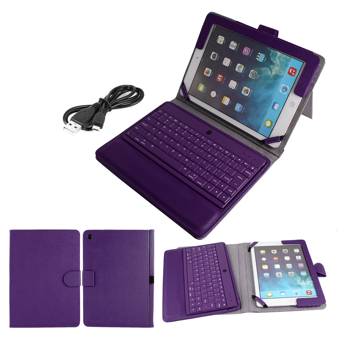 Wireless bluetooth Keyboard Foldable PU Leather Stand Case Purple for iPad Air 5