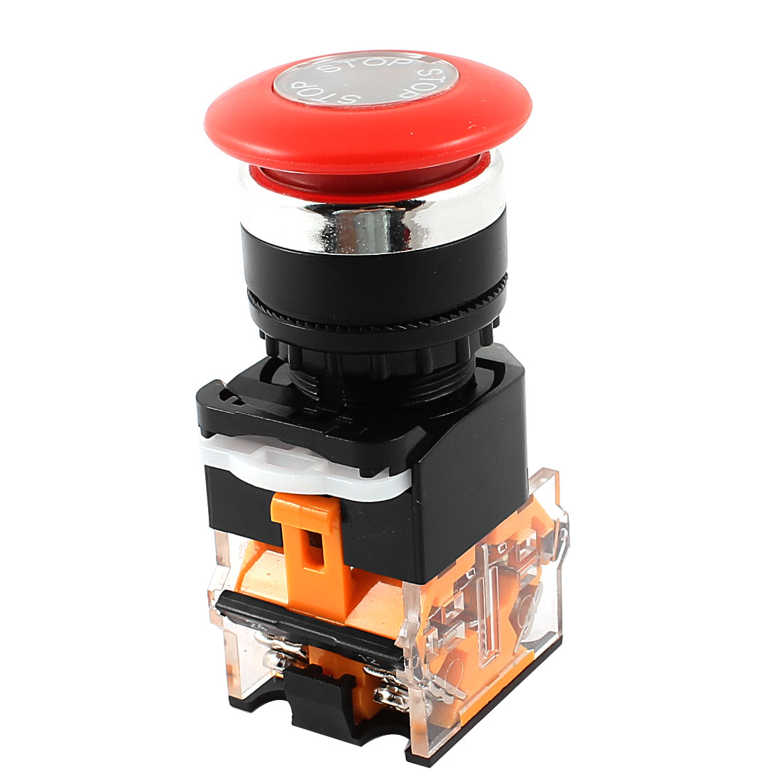AC 660V 10A DPST Red Mushroom Cap 4 Terminal Momentary Emergency Stop Switch