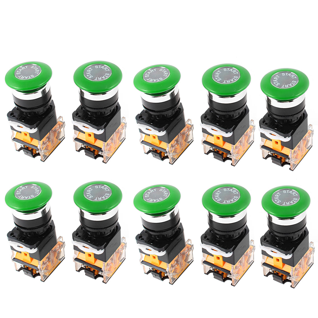 AC 660V 10A DPST Green Mushroom Cap 4 Screw Terminal Emergency Stop Switch 10Pcs