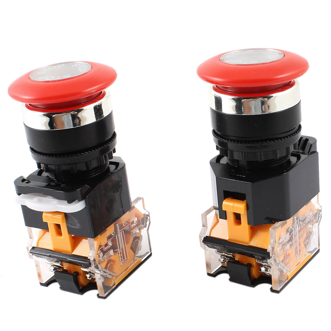 AC 660V 10A DPST Red Mushroom Cap 4 Screw Terminal Momentary Emergency Stop Switch 2Pcs