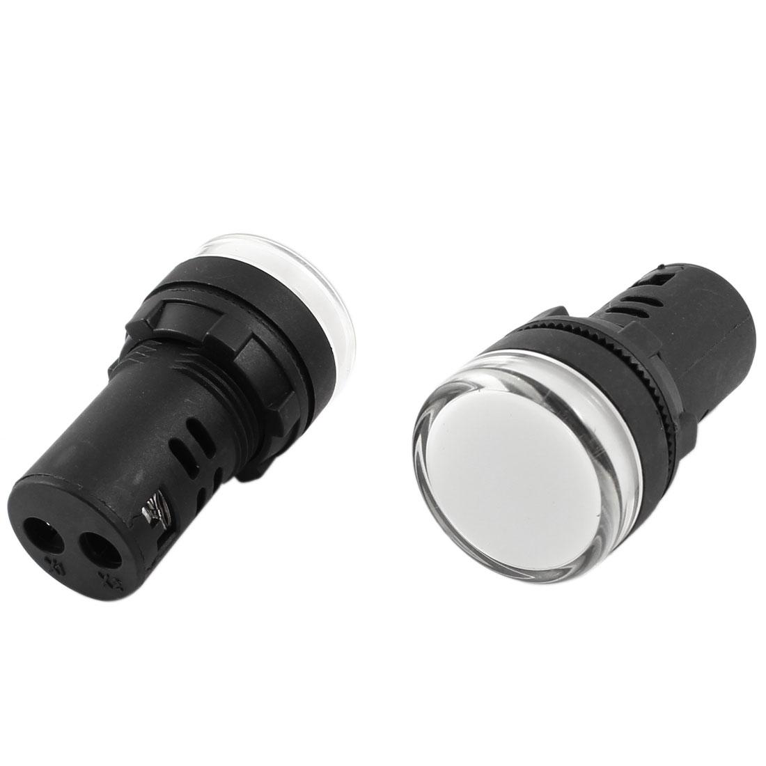 2Pcs AC/DC24V Energy Saving White LED Indicator Pilot Signal Light Lamp 22mm