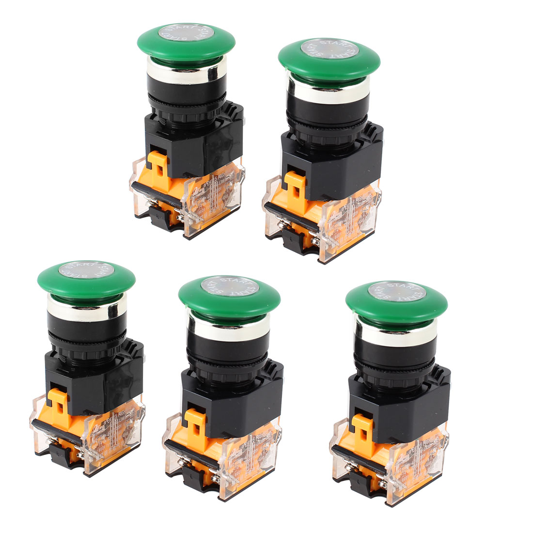 AC 660V 10A DPST Green Mushroom Cap 4 Screw Terminal Emergency Stop Switch 5Pcs