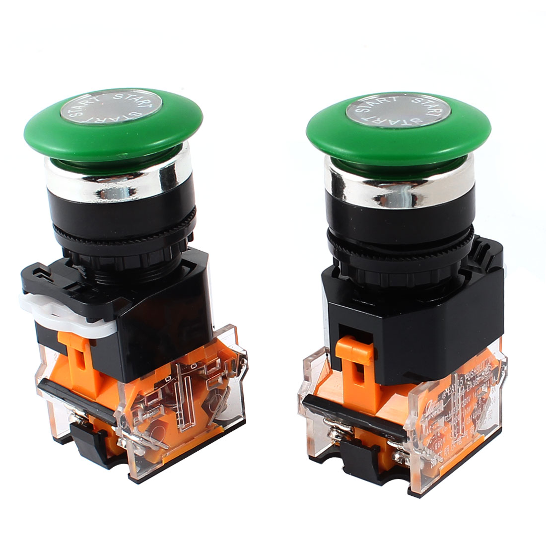 AC 660V 10A DPST Green Mushroom Cap Momentary Emergency Stop Press Button Switch 2Pcs