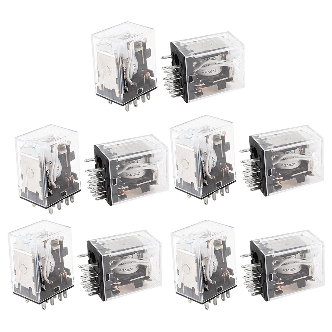 10 Pcs HH54PL DC 220V Coil 4PDT Green LED Lamp Light General Purpose Power Relay