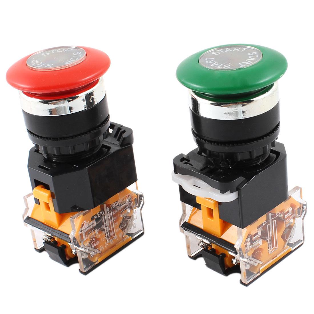 AC 660V 10A DPST NO+NC Red Green Mushroom Cap Emergency Stop Switch 2Pcs