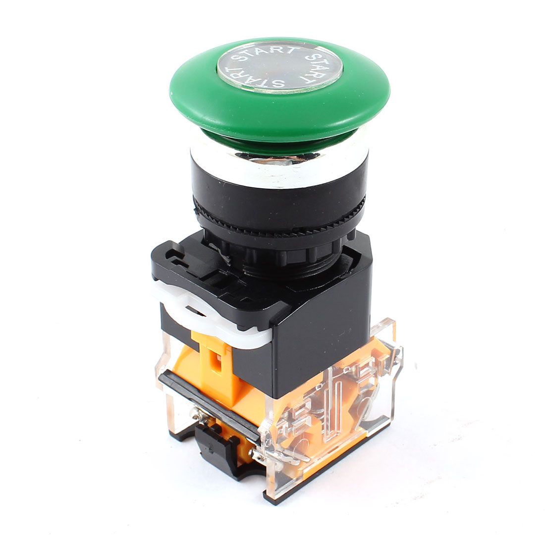 AC 660V 10A DPST Green Mushroom Cap 4 Terminal Momentary Emergency Stop Switch