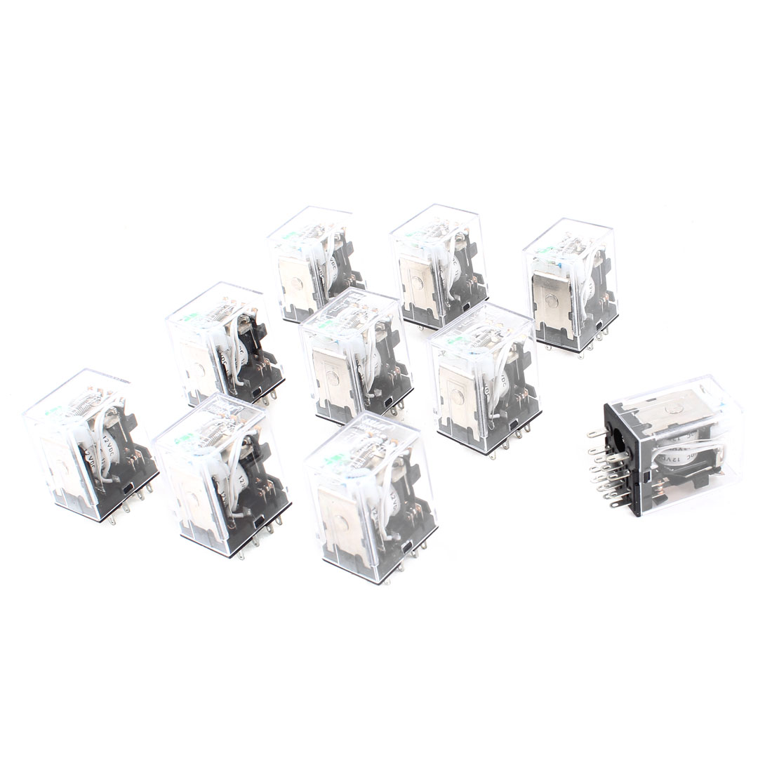 10 Pcs HH54PL DC 12V Coil 4PDT Green LED Light General Purpose Power Relay