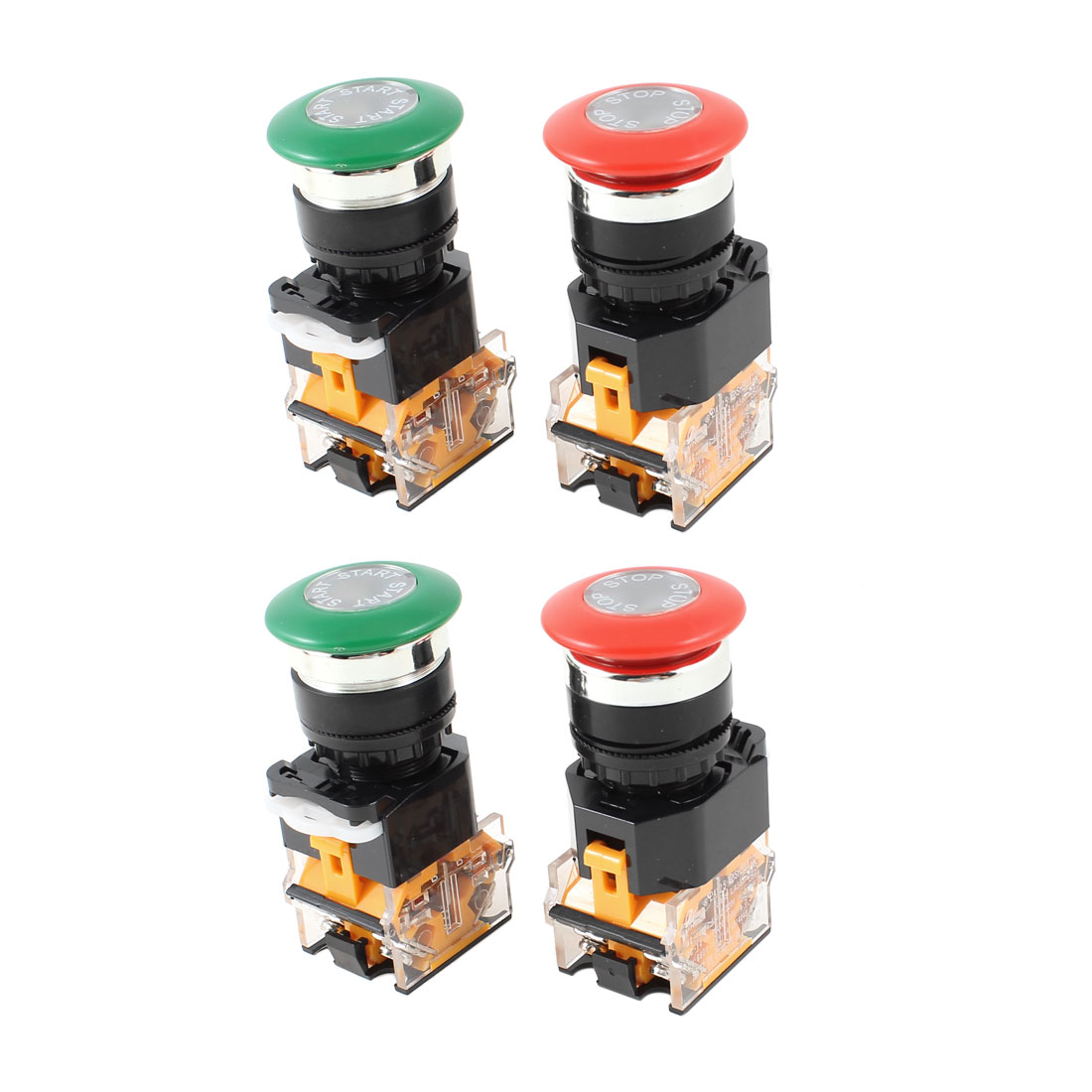 AC 380V 10A DPST Red Green Mushroom Head 4 Screw Terminal Momentary Emergency Stop Pushbutton Switch 4 Pcs