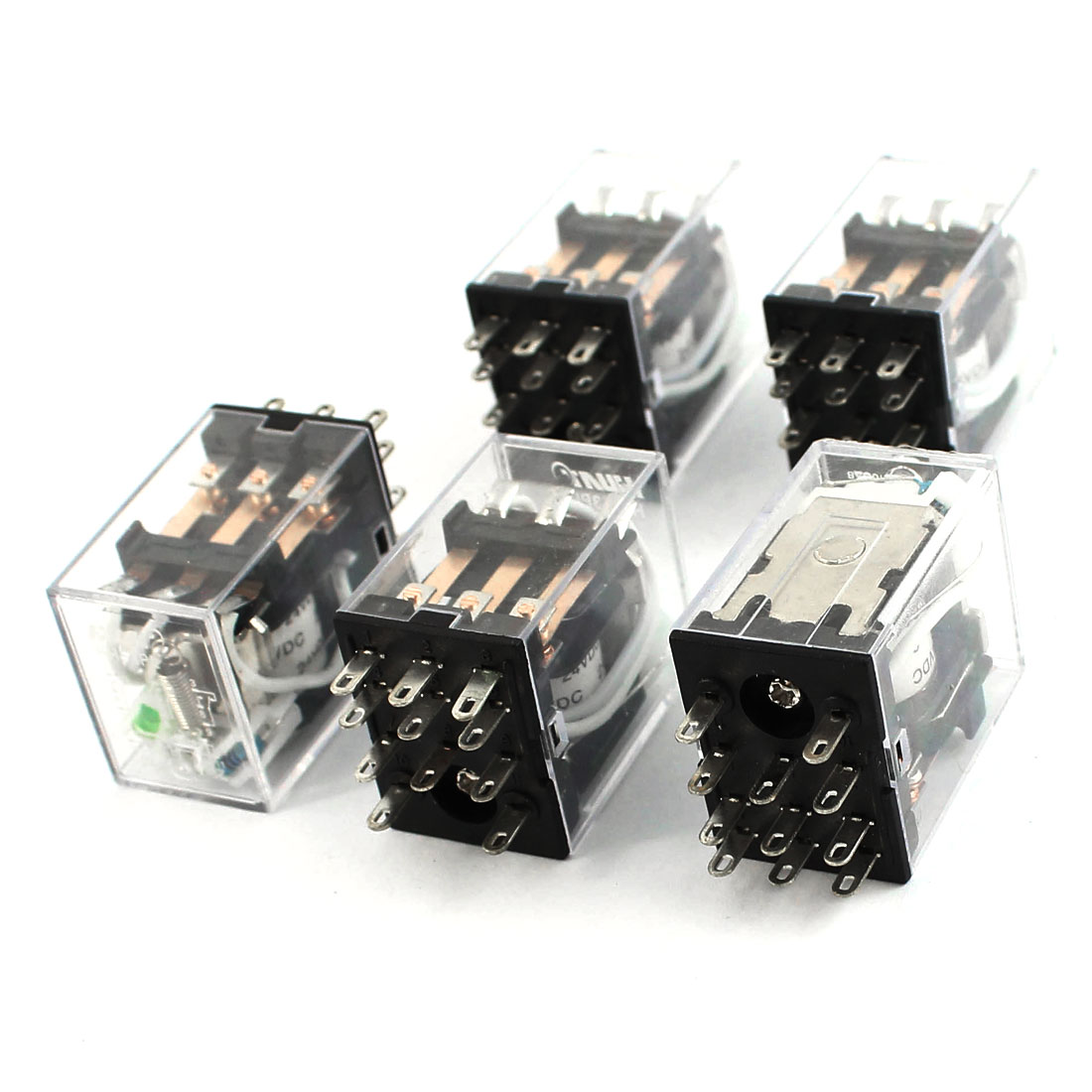 5pcs HH53PL DC 24V Coil 3PDT Green LED Lamp Light General Purpose Power Relay