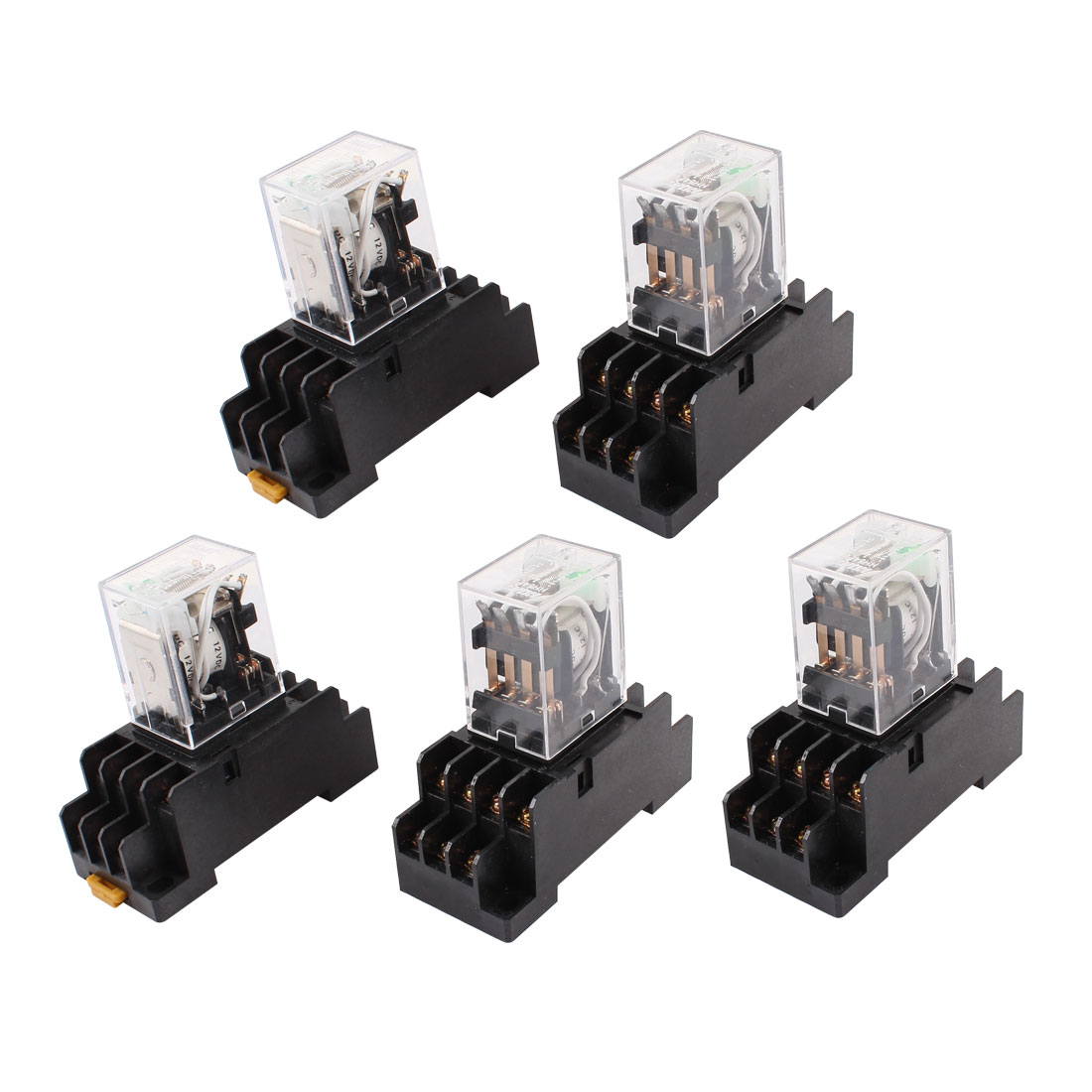 5 Pcs DC 12V Coil 4PDT 14 Pin Green LED General Purpose Power Relay w Socket Base