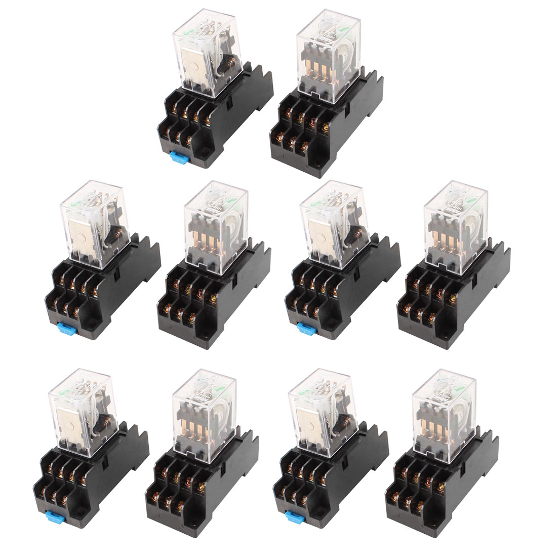 10Pcs DC 12V Coil 4PDT 14 Pin Green LED General Purpose Power Relay w Socket Base