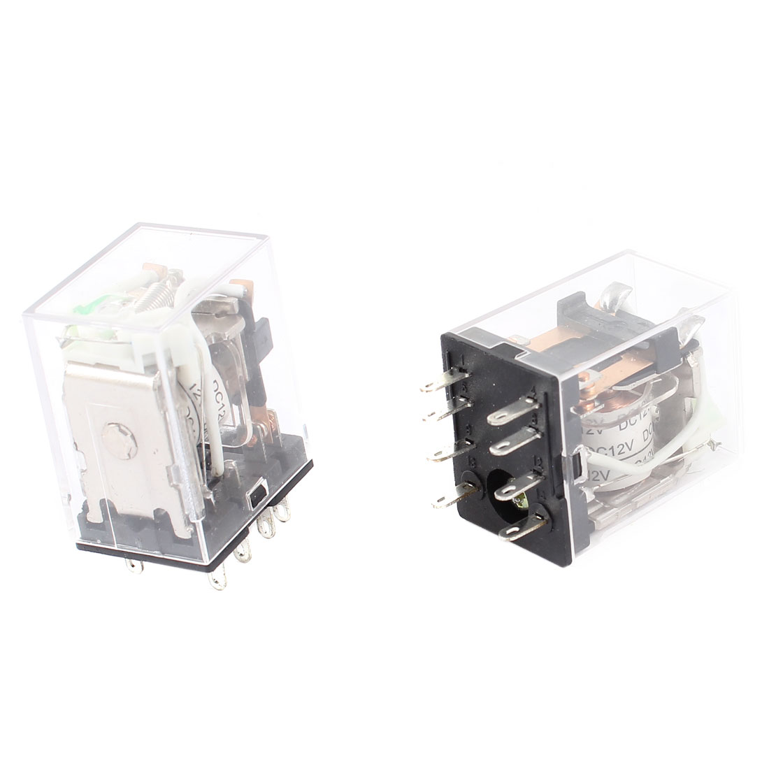 2pcs HH52PL DC 12V Coil DPDT Green LED Light General Purpose Electromagnetic Power Relay