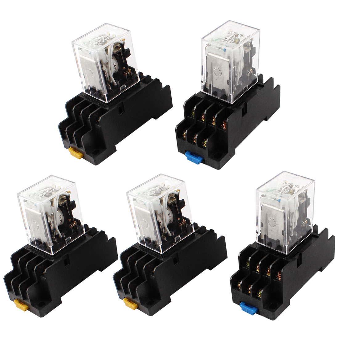 5 Pcs DC 24V Coil 4PDT 14 Pin Green LED General Purpose Power Relay w Socket Base