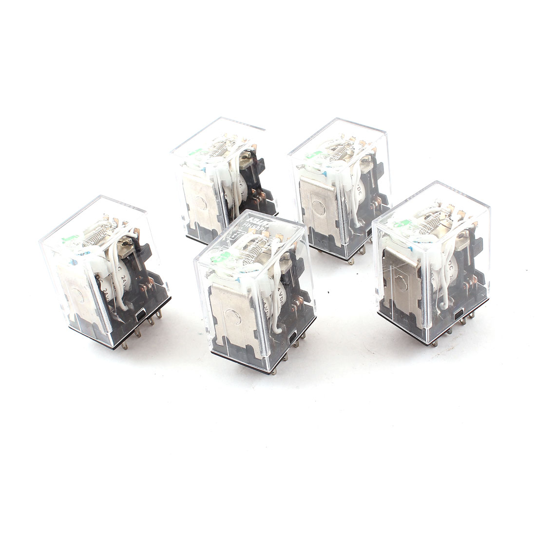 5pcs HH54PL DC 24V Coil 4PDT Green LED Lamp Light General Purpose Power Relay