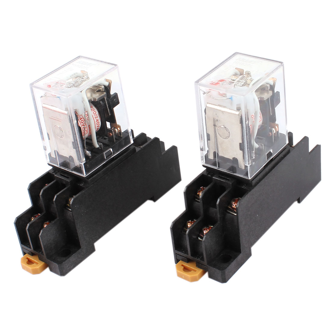 2 Pcs AC 220V Coil DPDT 8 Pin Red LED General Purpose Power Relay w Socket Base